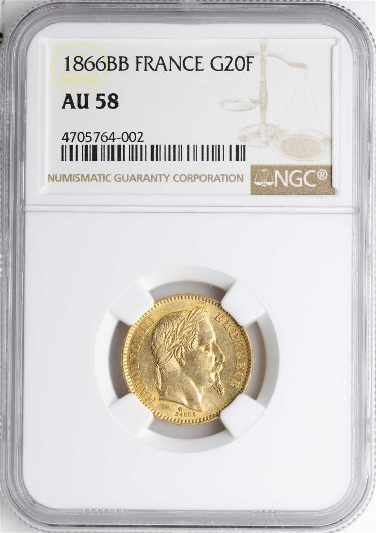 1866BB France 20 Francs Gold Coin NGC AU58