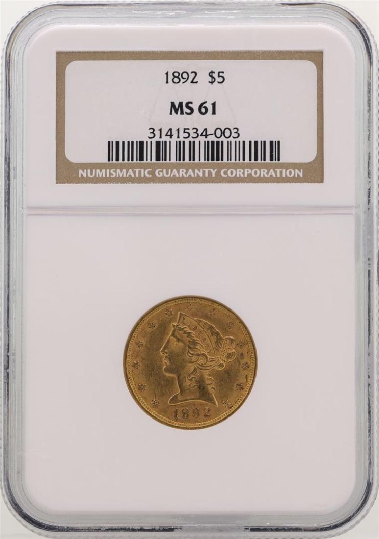 1892 $5 Liberty Head Half Eagle Gold Coin NGC MS61