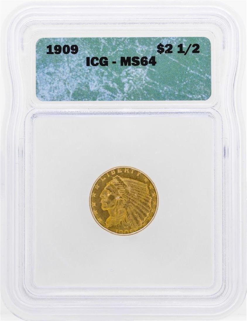 1909 $2 1/2 Indian Head Quarter Eagle Gold Coin ICG