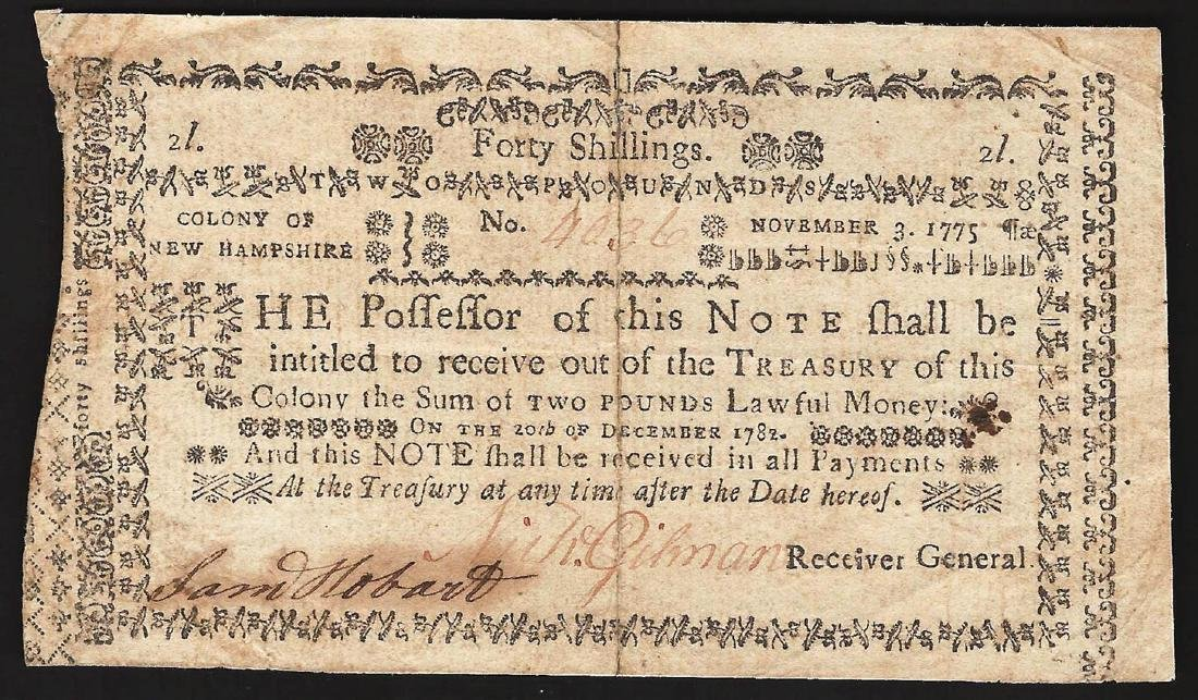 1775 New Hampshire Forty Shillings Colonial Currency