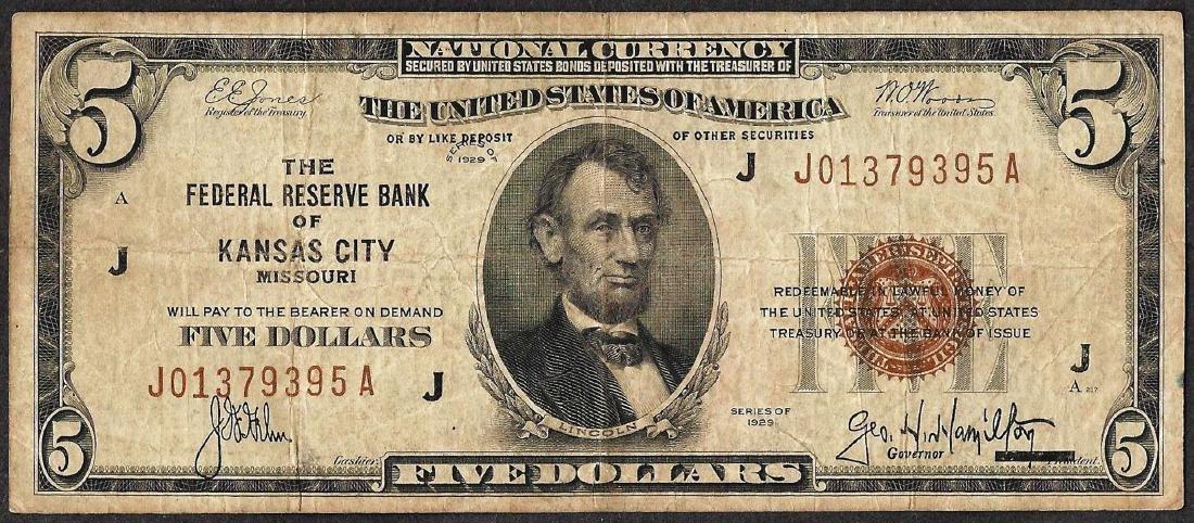 1929 $5 Federal Reserve Bank Note Kansas City, MO