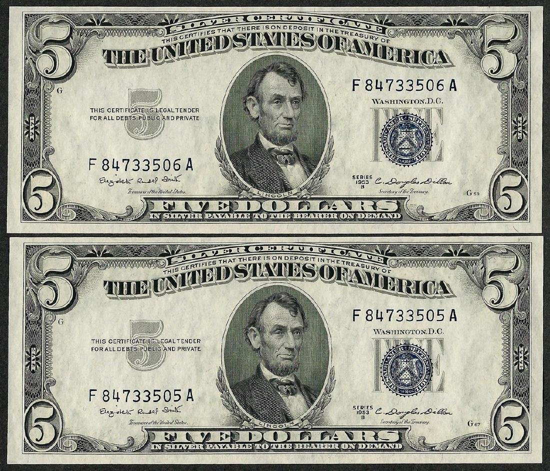 Lot of (2) Consecutive 1953B $5 Silver Certificate