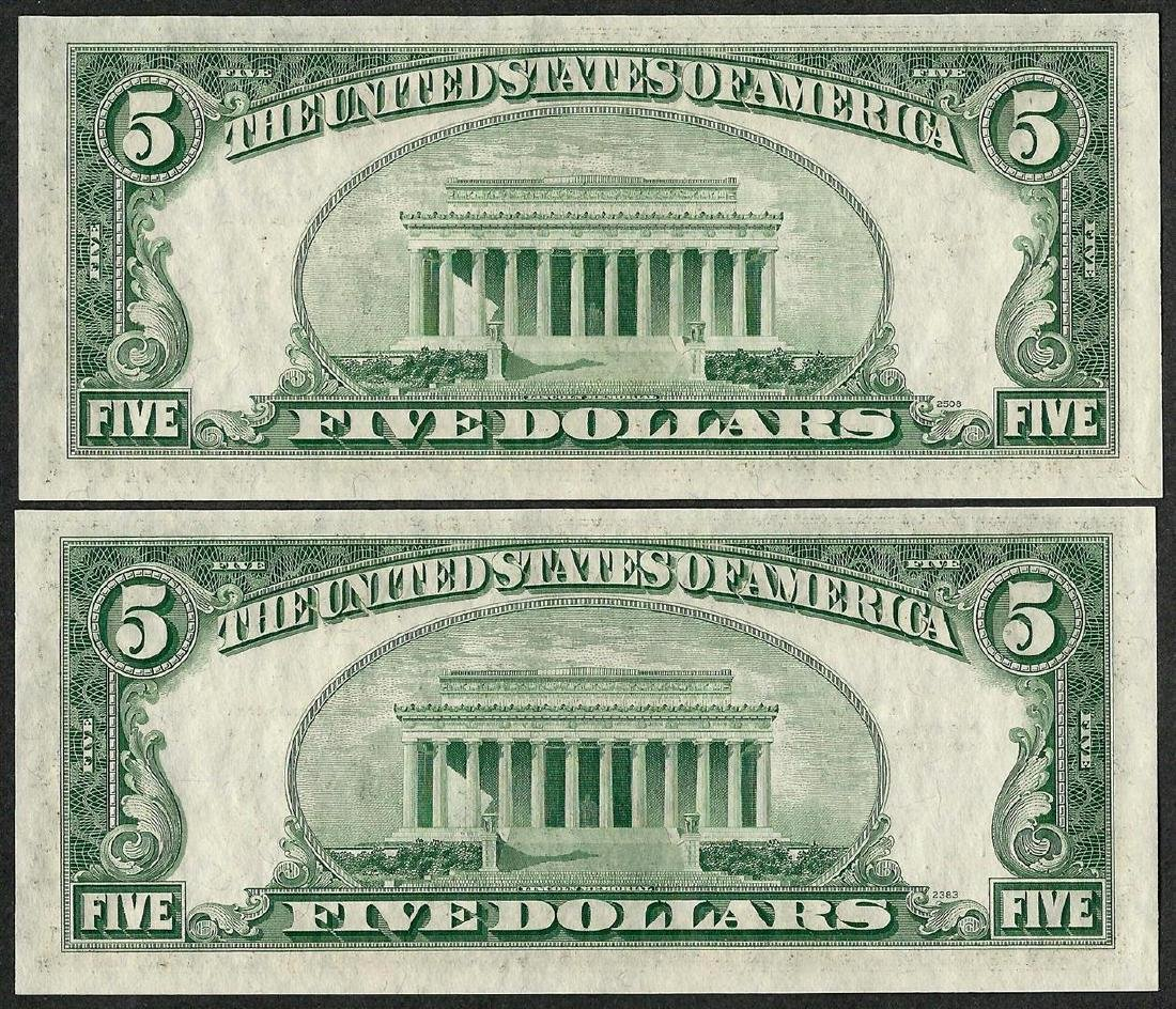 Lot of (2) Consecutive 1953B $5 Silver Certificate - 2
