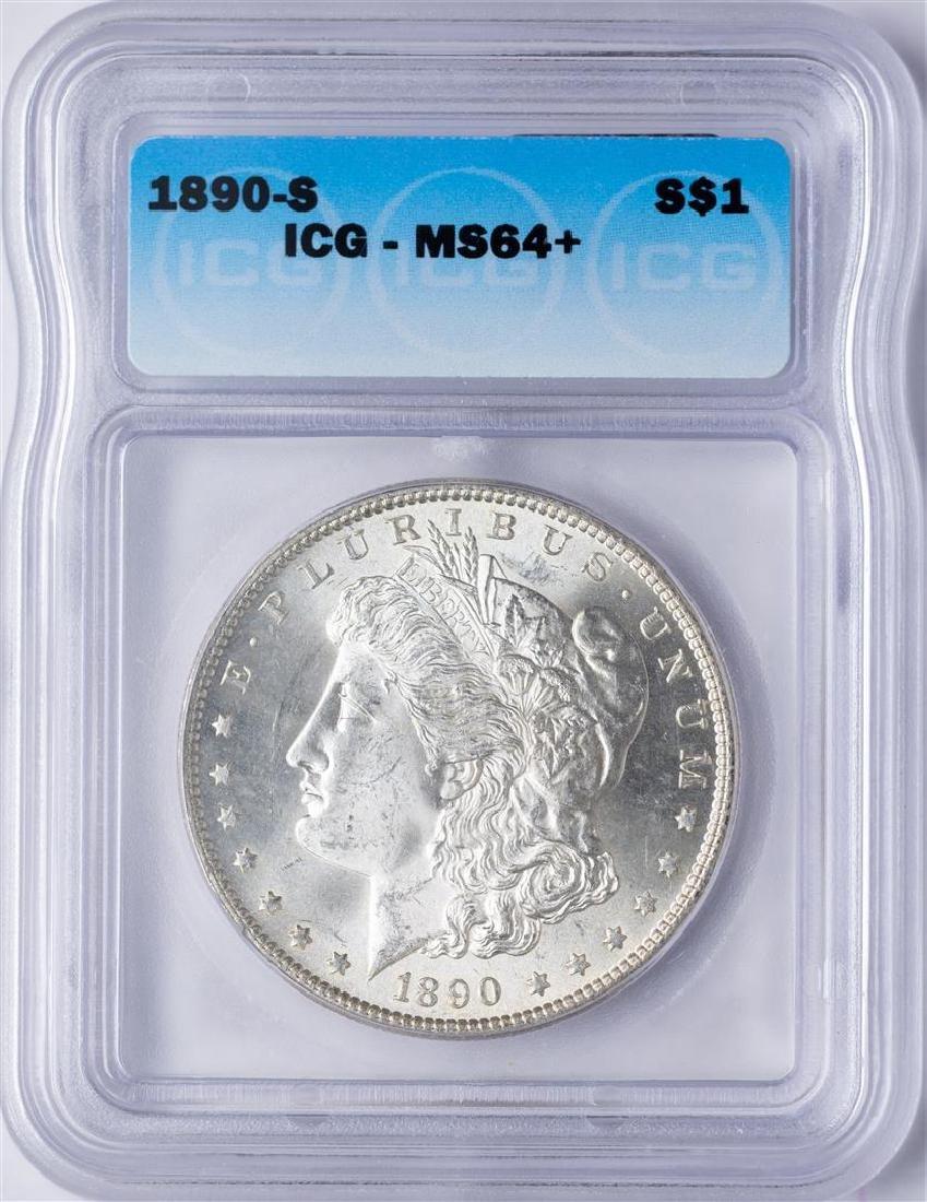 1890-S $1 Morgan Silver Dollar Coin ICG MS64+