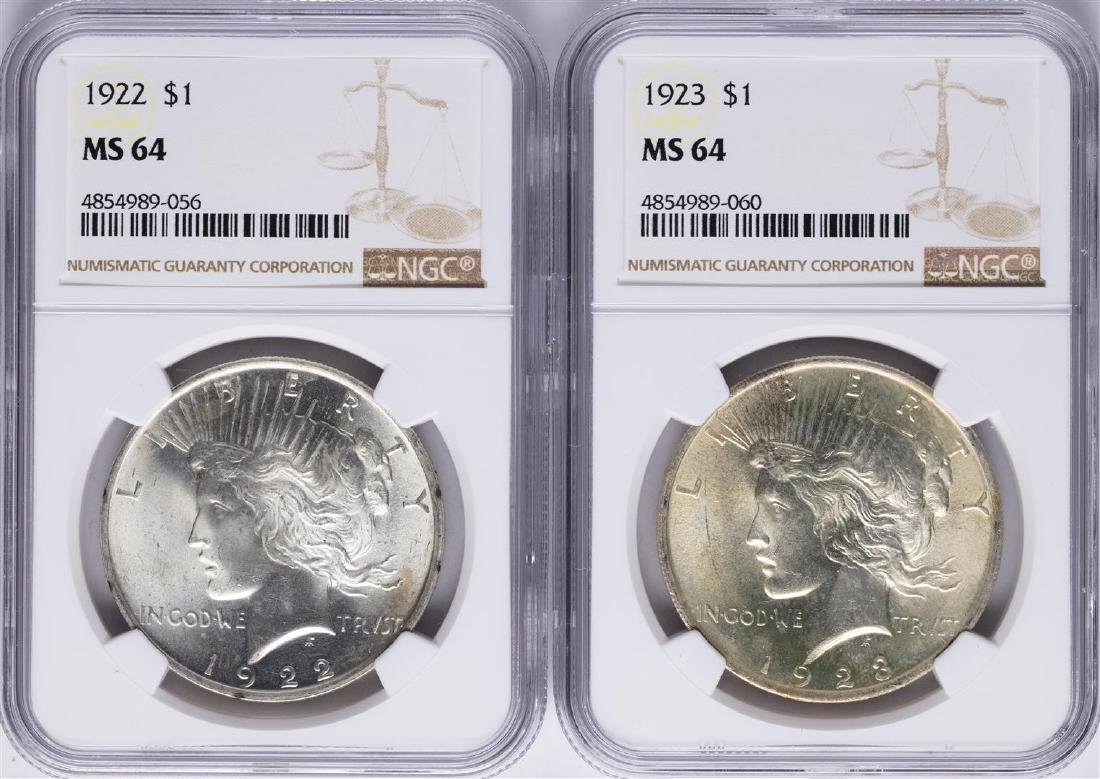 Lot of 1922-1923 $ Peace Silver Dollar Coins NGC MS64