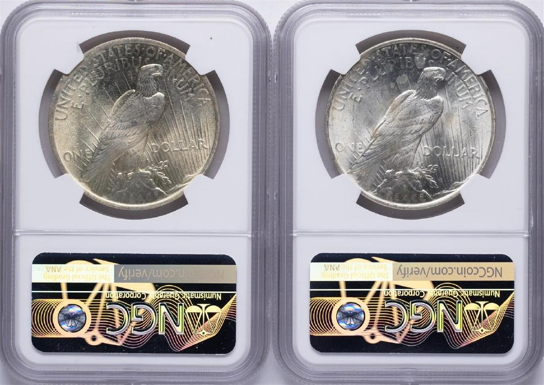 Lot of 1922-1923 $ Peace Silver Dollar Coins NGC MS64 - 2
