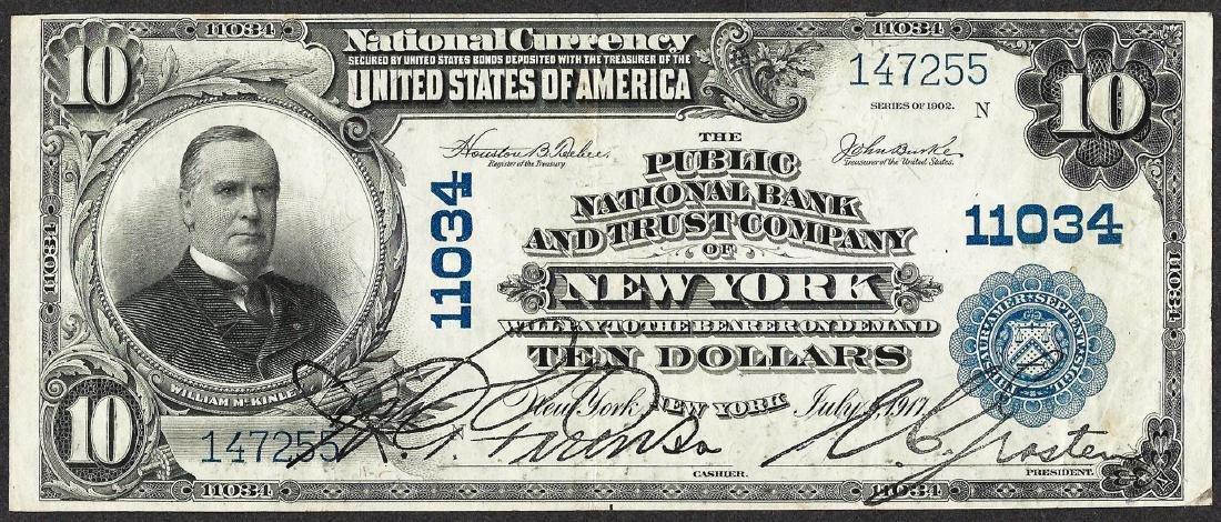 1902 PB $10 Public NB & Trust Company of New York, NY