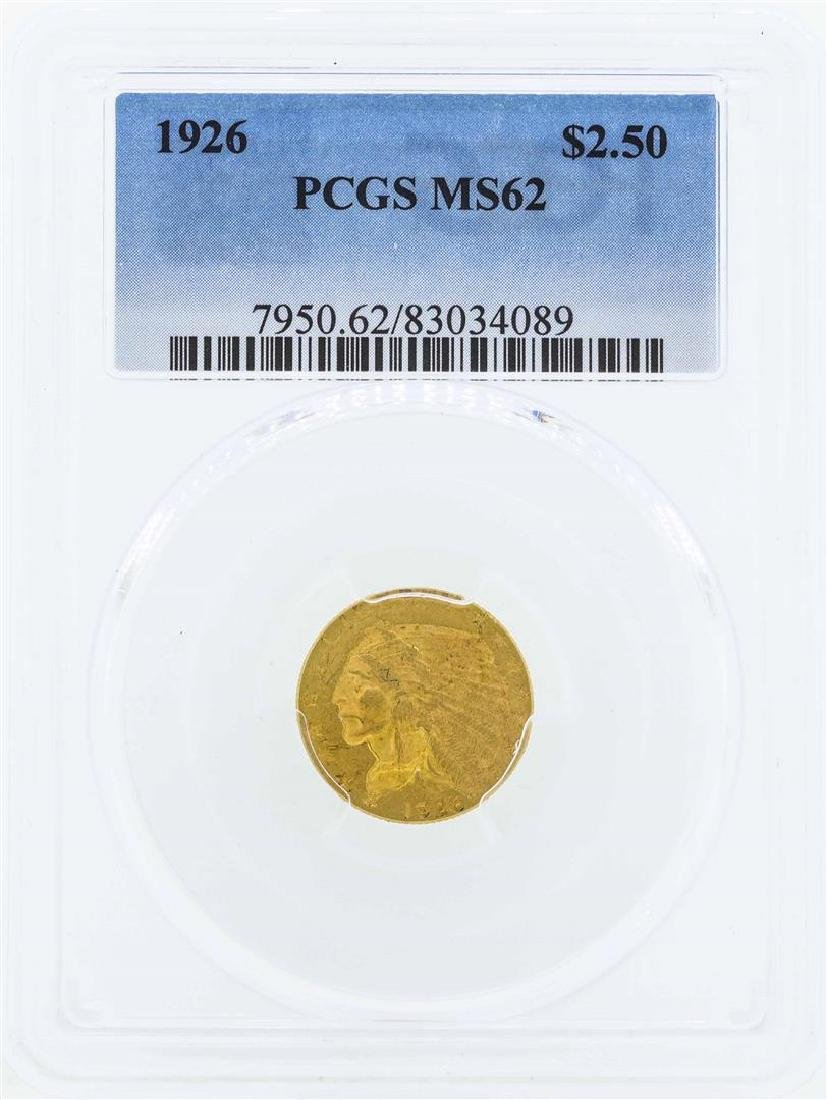 1926 $2 1/2 Indian Head Quarter Eagle Gold Coin PCGS