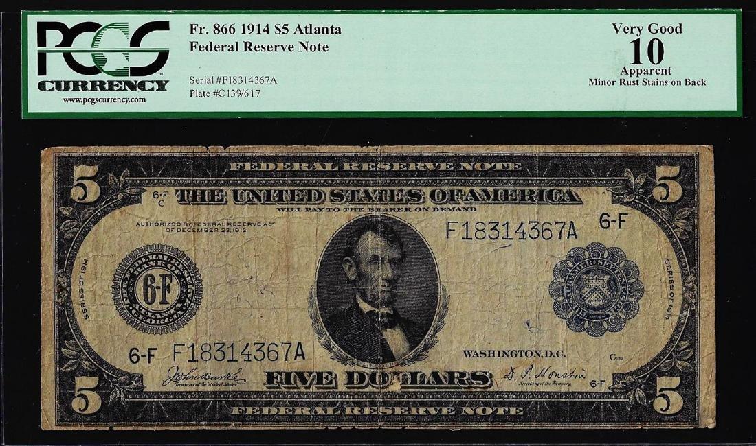 1914 $5 Federal Reserve Note Atlanta Fr.866 PCGS Very