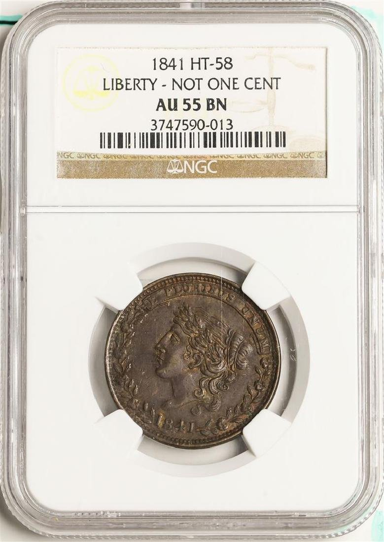 1841 Liberty - Not One Cent Hard Times Token HT-58 NGC