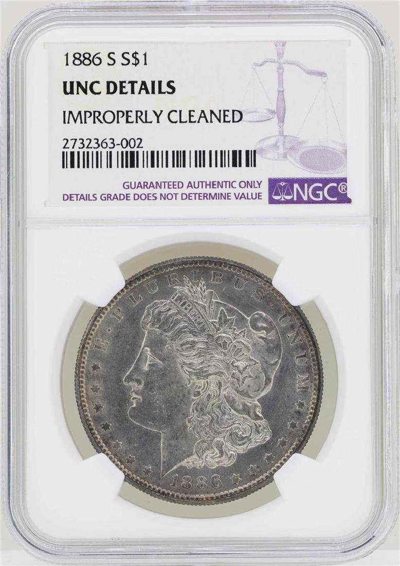1886-S $1 Morgan Silver Dollar Coin NGC UNC Details