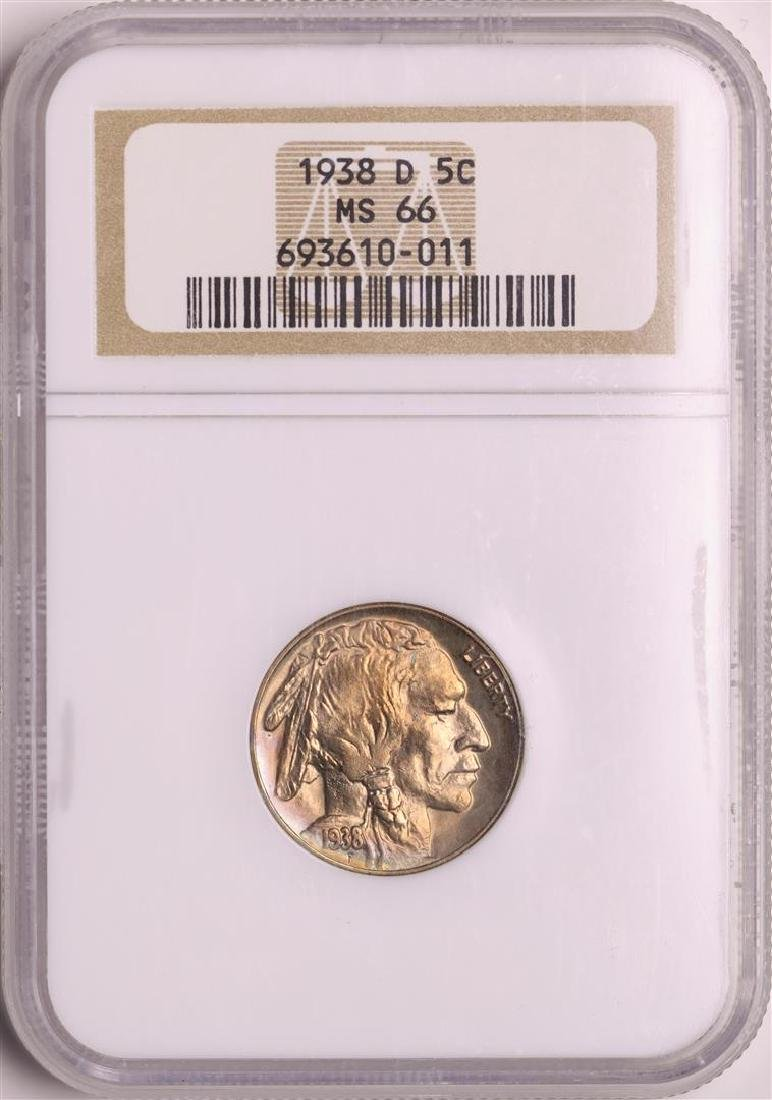 1938-D Buffalo Nickel Coin NGC MS66 Old Holder