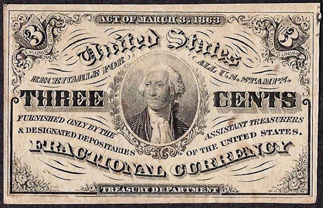 March 3, 1863 Third Issue Three Cent Fractional