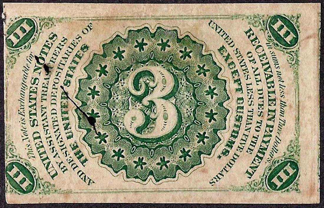 March 3, 1863 Third Issue Three Cent Fractional - 2