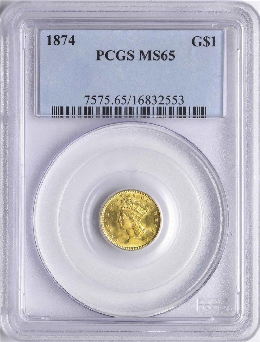 1874 $1 Indian Princess Head Gold Dollar Coin PCGS MS65