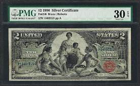1896 $2 Educational Silver Certificate Note Fr.248 PMG