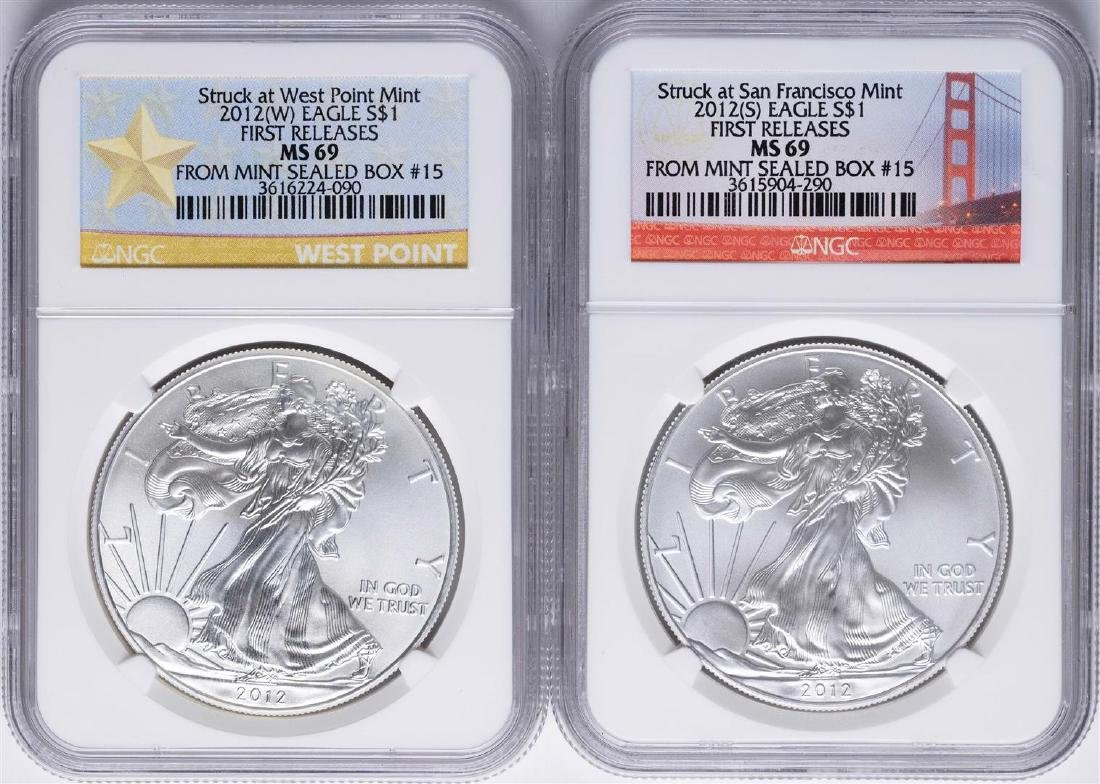 Lot of 2012-W & 2012-S $1 American Silver Eagle Coins