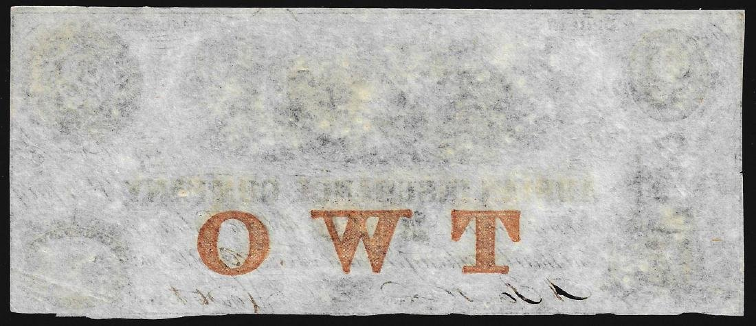 1853 $2 The Adrian Insurance Company Obsolete Bank Note - 2
