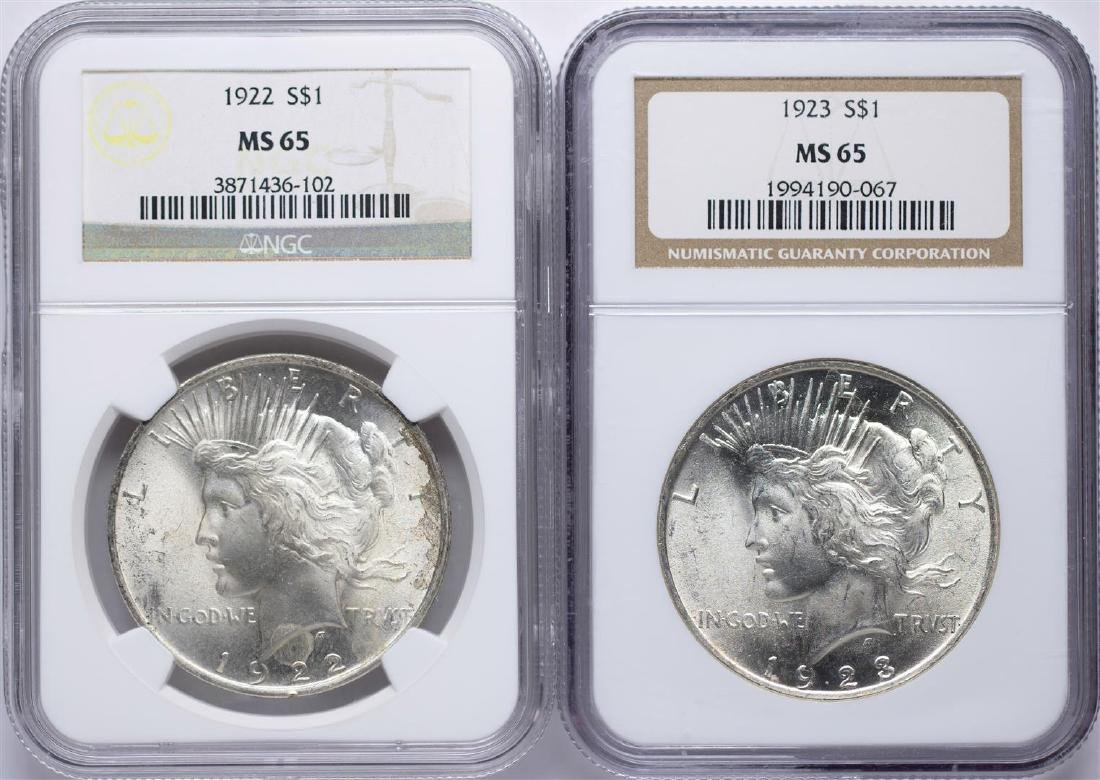 Lot of 1922-1923 $1 Peace Silver Dollar Coins NGC MS65