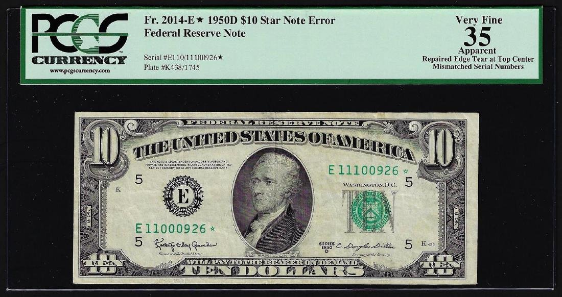 1950D $10 Federal Reserve STAR Note Mismatched Serial