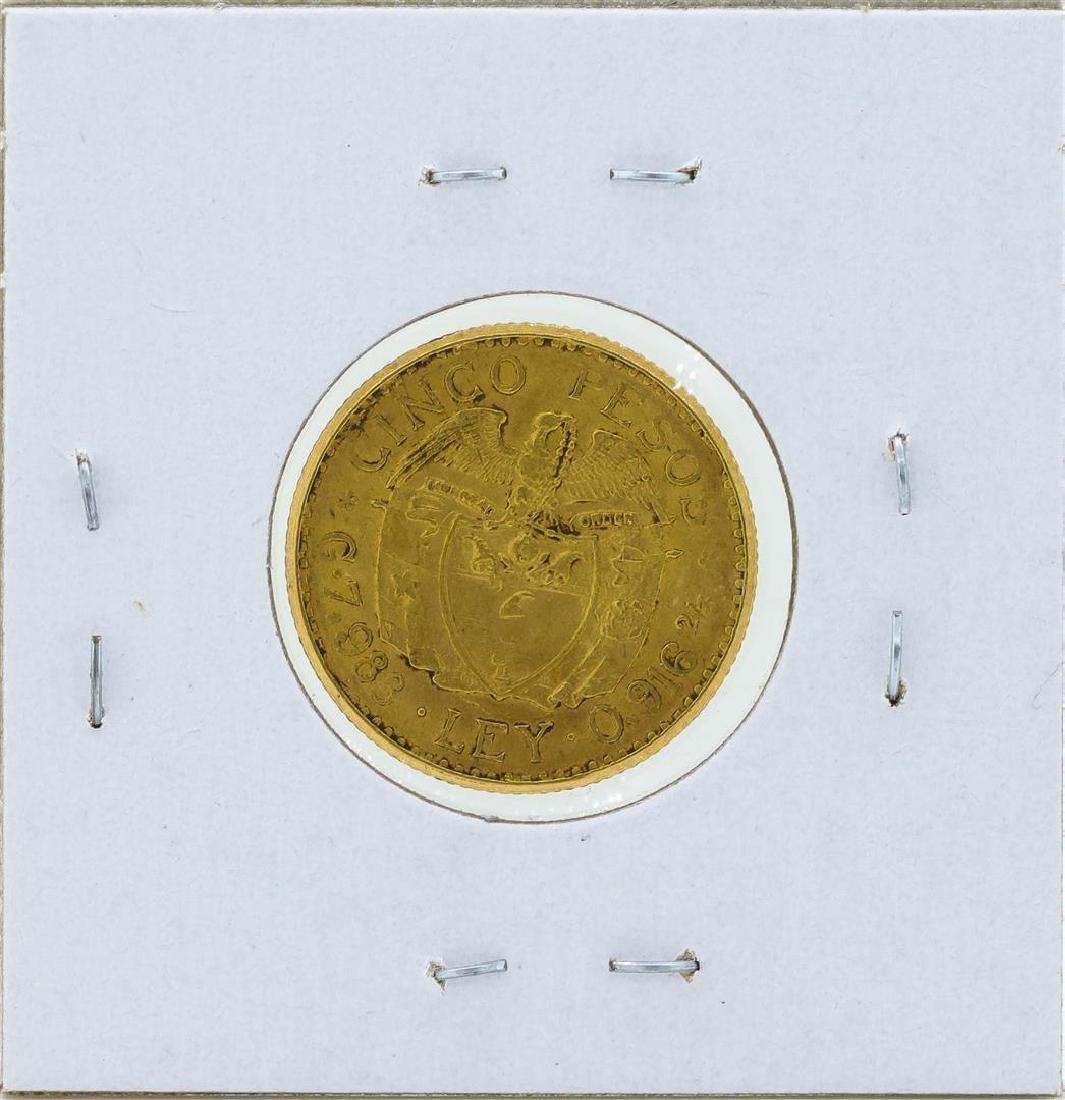 1926 Republic of Columbia 5 Pesos Gold Coin - 2