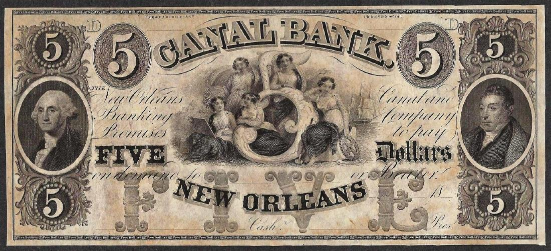 1800's $5 Canal Bank New Orleans Obsolete Note