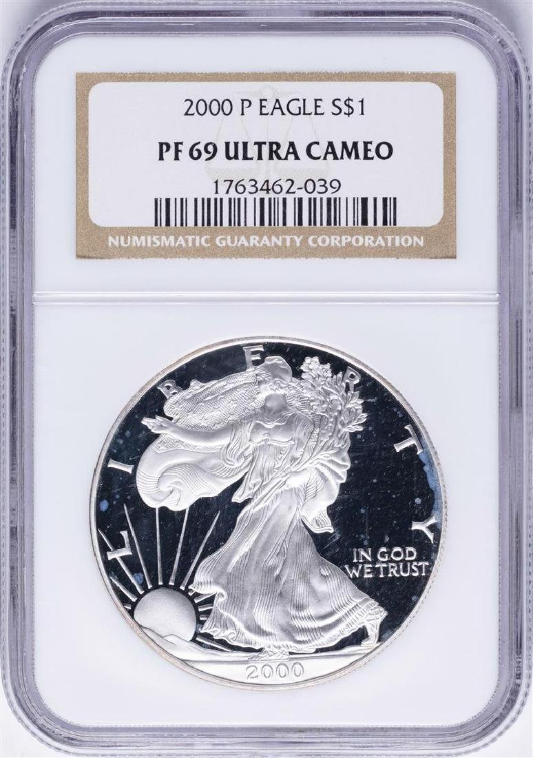2000-P $1 American Silver Eagle Proof Coin NGC PF69