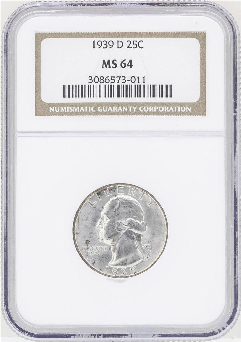 1939-D Washington Quarter Silver Coin NGC MS64
