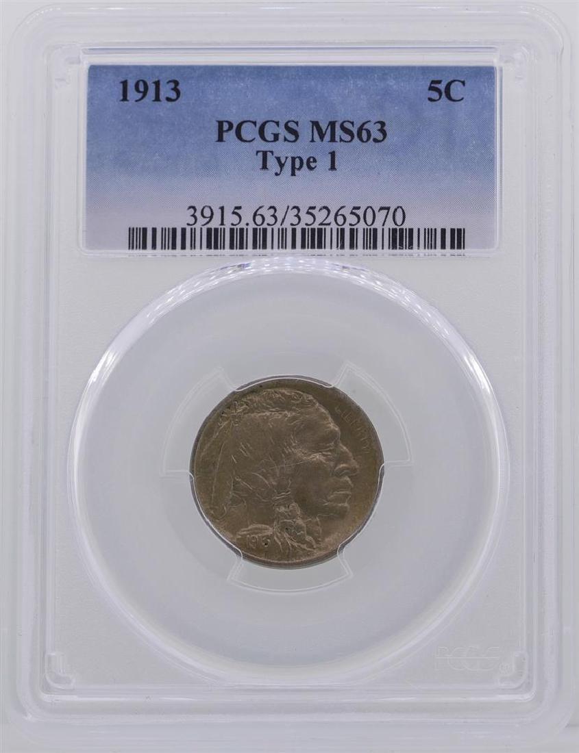 1913 Type 1 Buffalo Nickel Coin PCGS MS63
