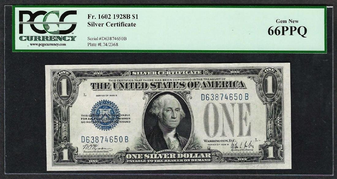 1928B $1 Funnyback Silver Certificate Note Fr.1602 PCGS