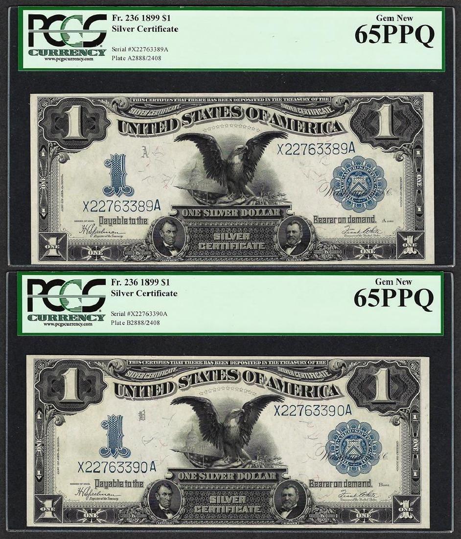 (2) Consecutive 1899 $1 Black Eagle Silver Certificate