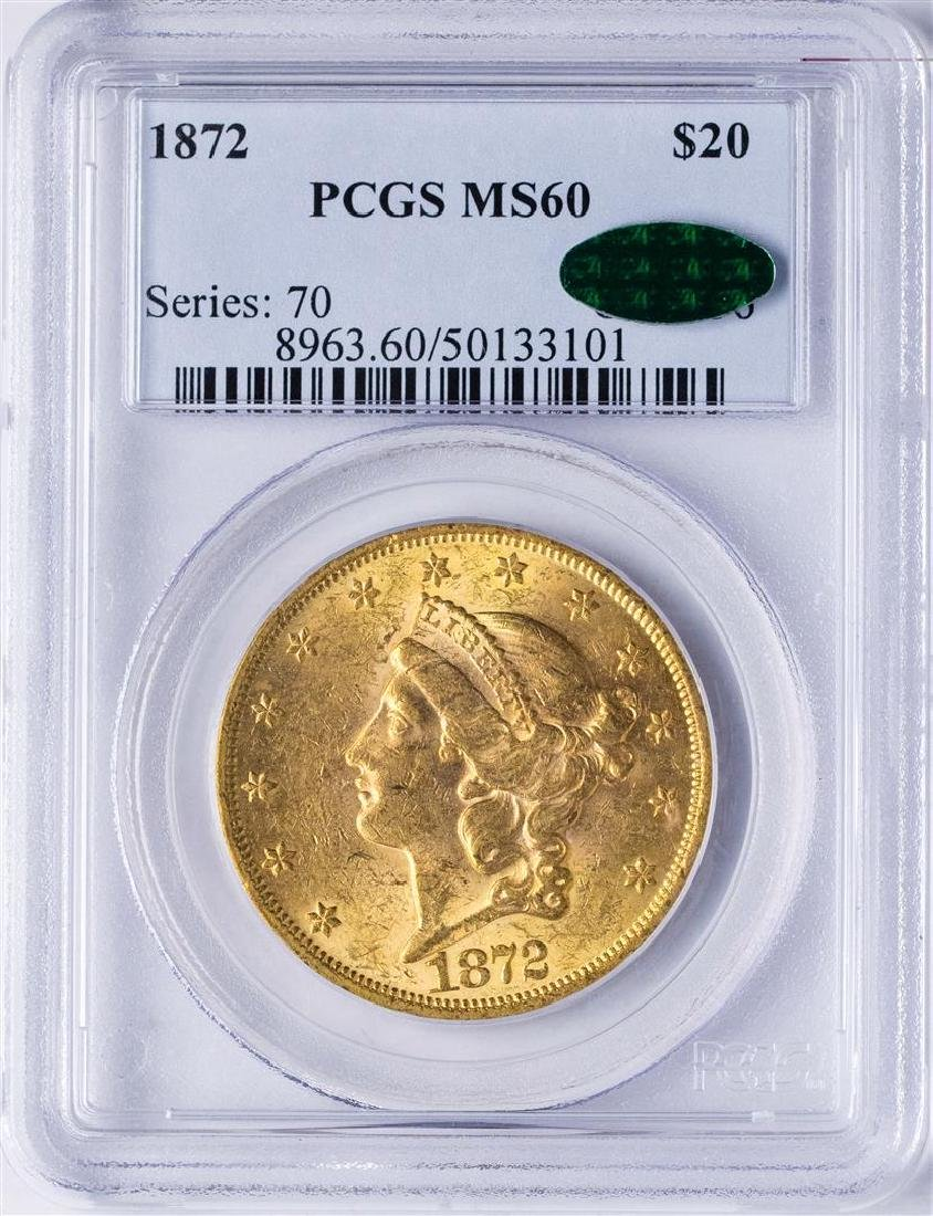 1872 $20 Liberty Head Double Eagle Gold Coin PCGS MS60