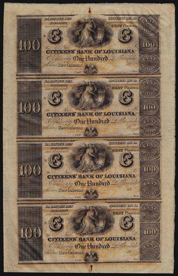 Uncut Sheet of $100 Citizens Bank of Louisiana Obsolete