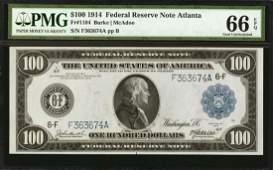 1914 $100 Federal Reserve Note Atlanta Fr.1104 PMG Gem