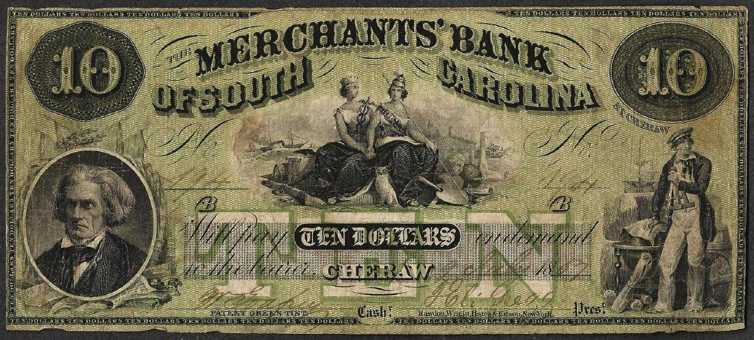 1857 $10 Merchants Bank of South Carolina Obsolete Note