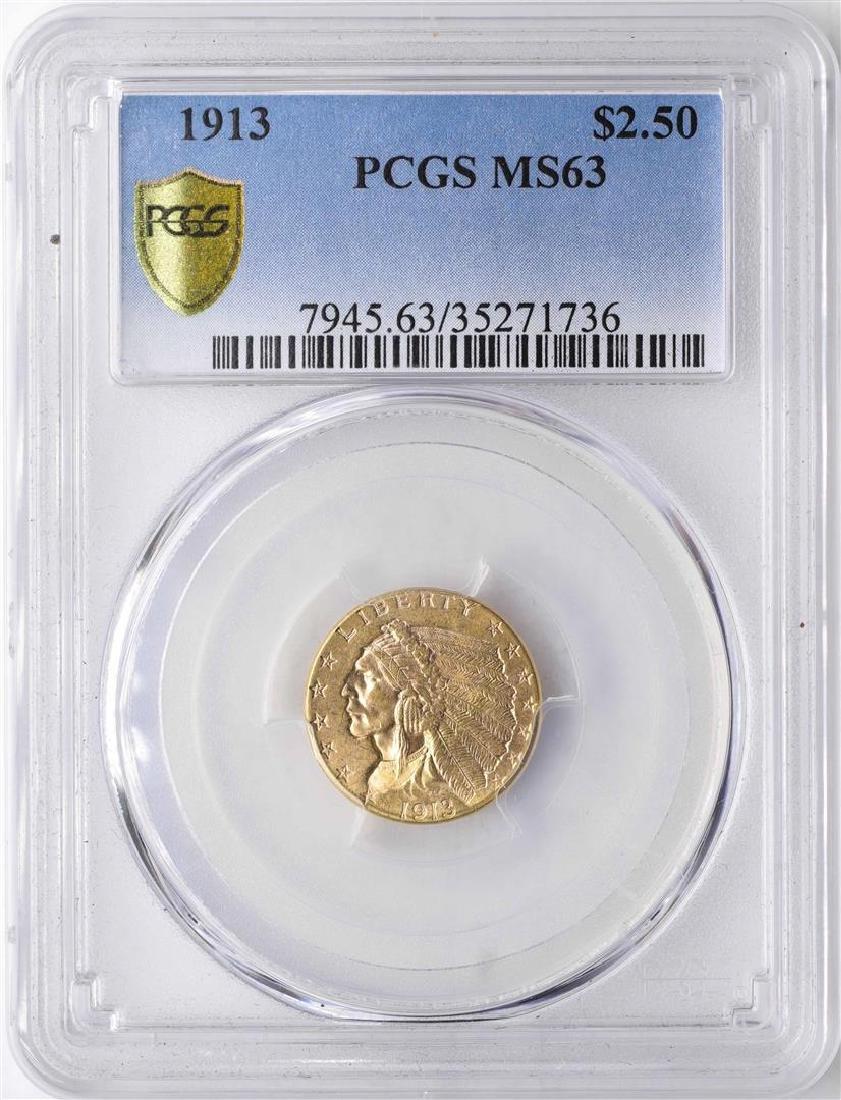 1913 $2 1/2 Indian Head Quarter Eagle Gold Coin PCGS