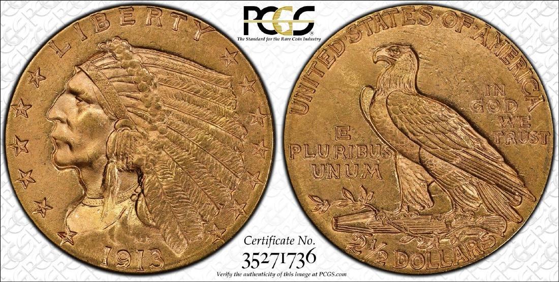 1913 $2 1/2 Indian Head Quarter Eagle Gold Coin PCGS - 3