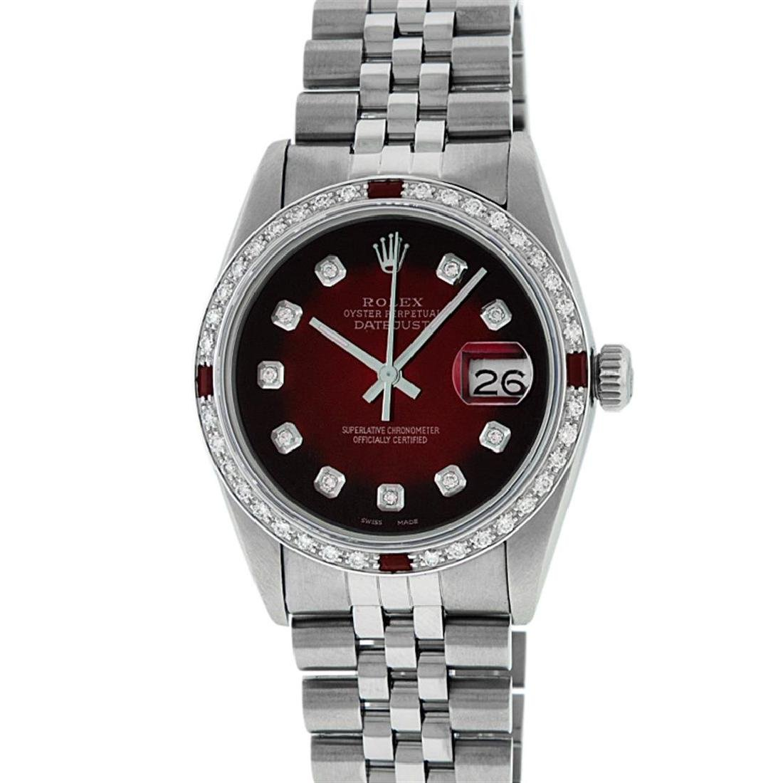 Rolex Men's Stainless Steel Red Vignette Diamond & Ruby