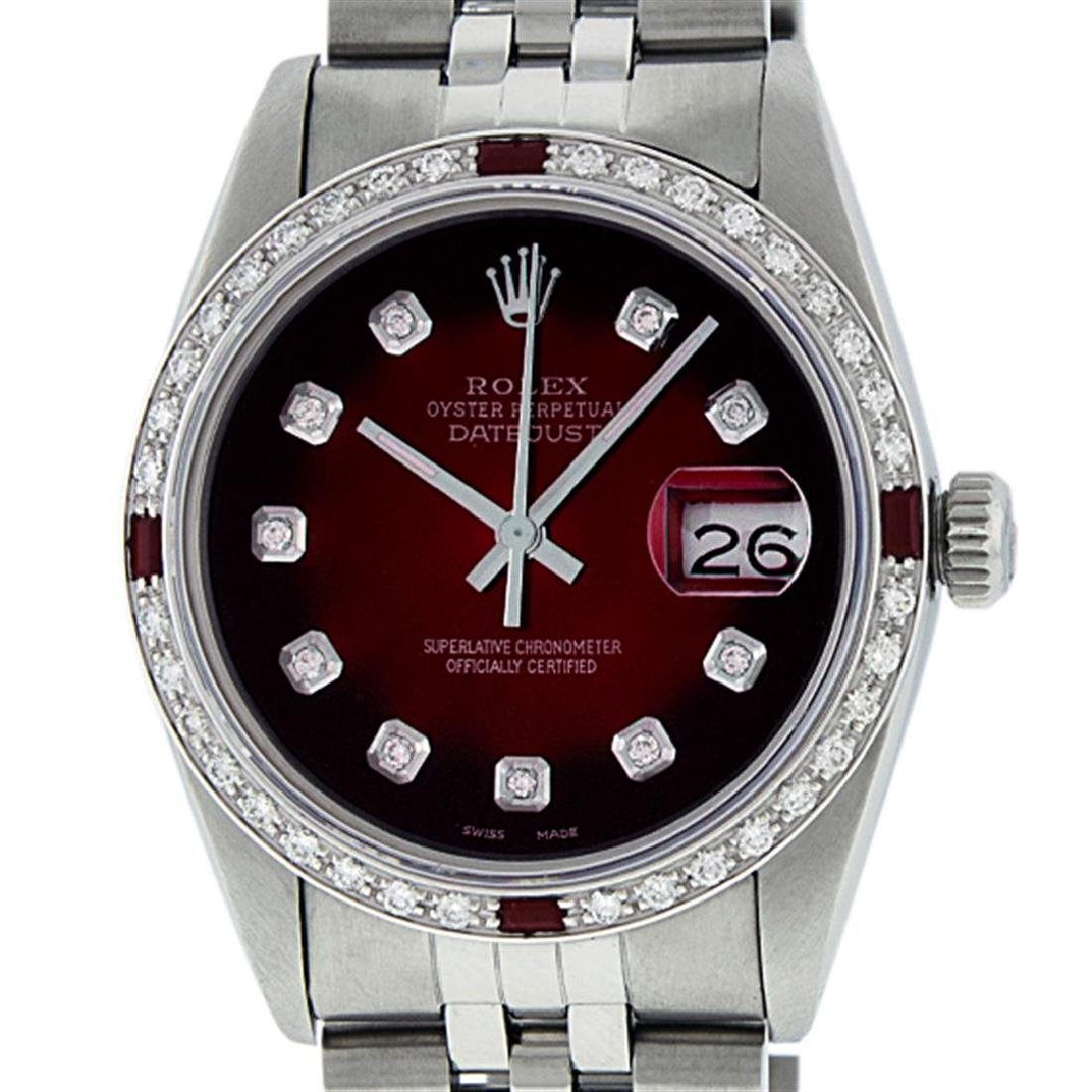 Rolex Men's Stainless Steel Red Vignette Diamond & Ruby - 2