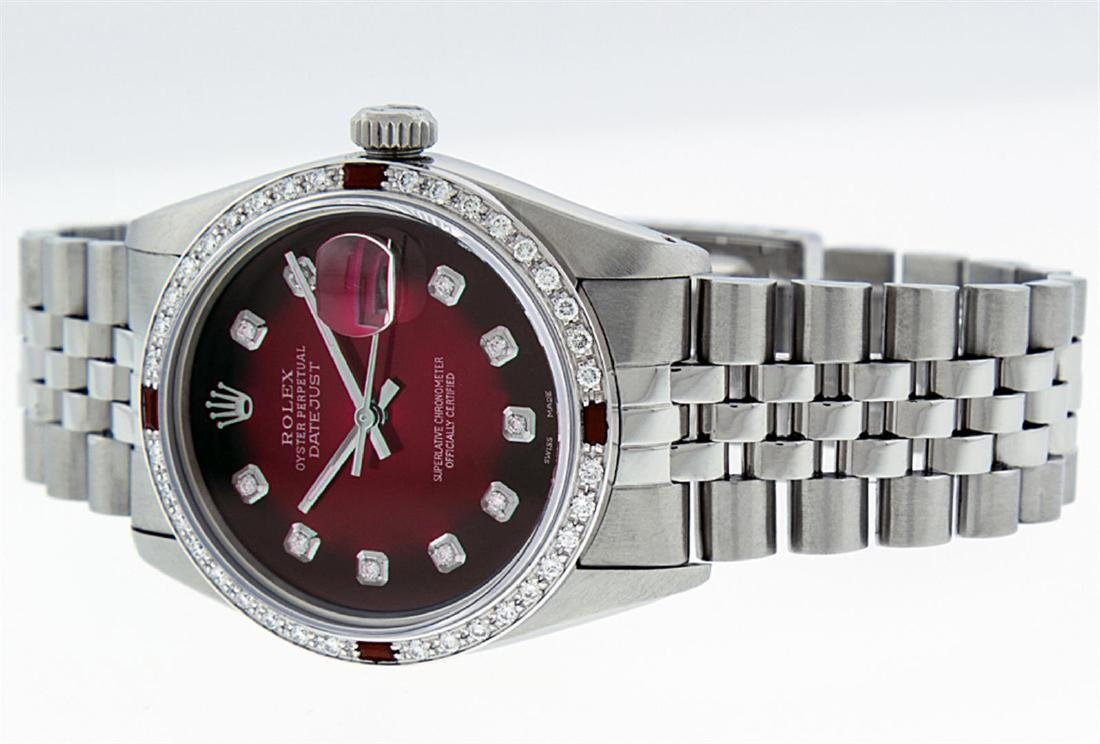 Rolex Men's Stainless Steel Red Vignette Diamond & Ruby - 3