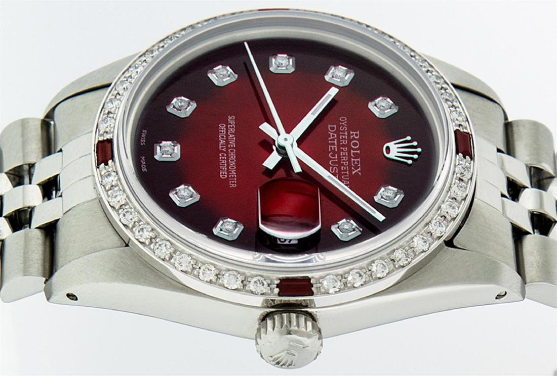 Rolex Men's Stainless Steel Red Vignette Diamond & Ruby - 4