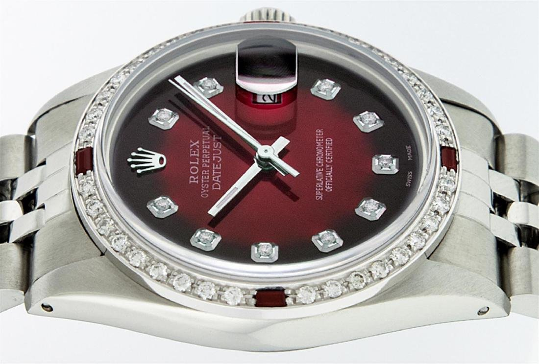Rolex Men's Stainless Steel Red Vignette Diamond & Ruby - 5
