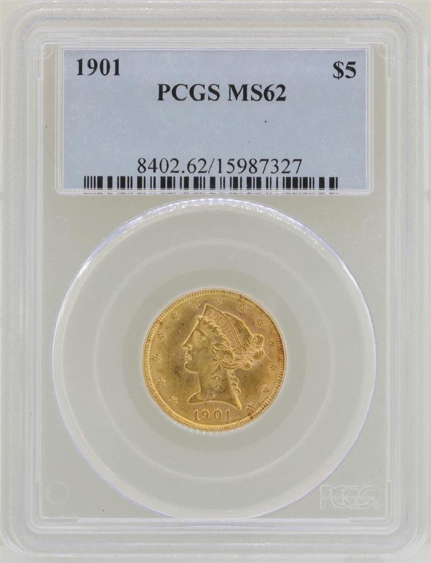 1901 $5 Liberty Head Half Eagle Gold Coin PCGS MS62