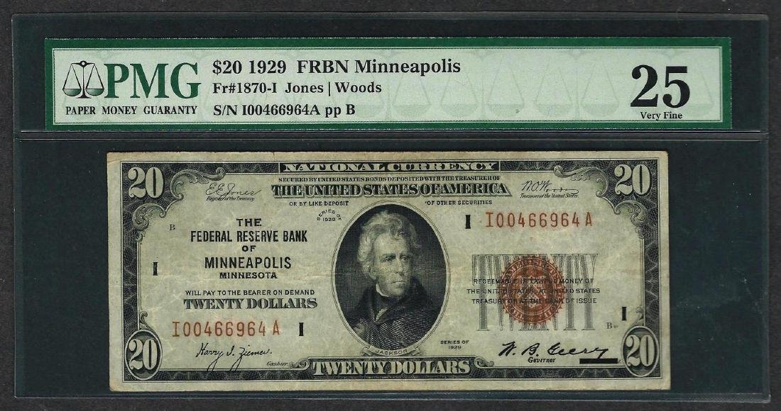 1929 $20 Federal Bank of Minneapolis Note Fr.1870-I PMG