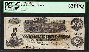 1862 100 Confederate States of America Note T39 PCGS