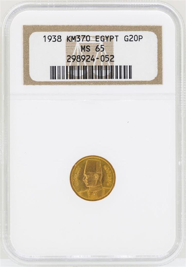 1938 Egypt 20 Piastres Royal Wedding Gold Coin NGC MS65
