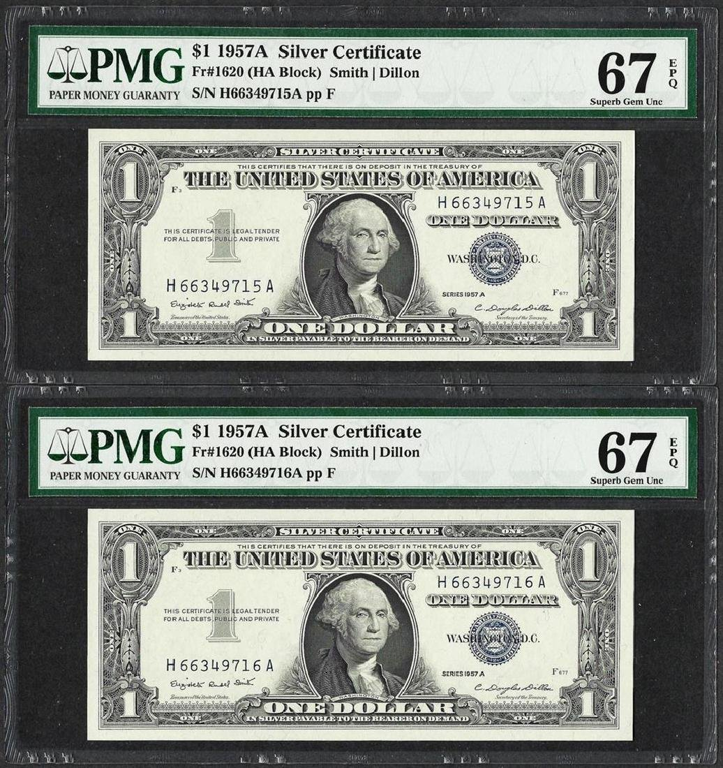 Lot of (2) Consecutive 1957A $1 Silver Certificate