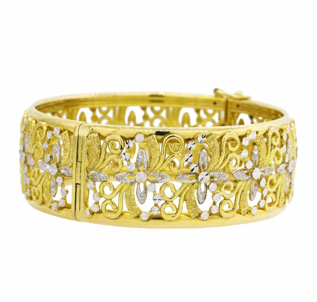 18KT Yellow Gold with Rhodium Plating Bangle Bracelet
