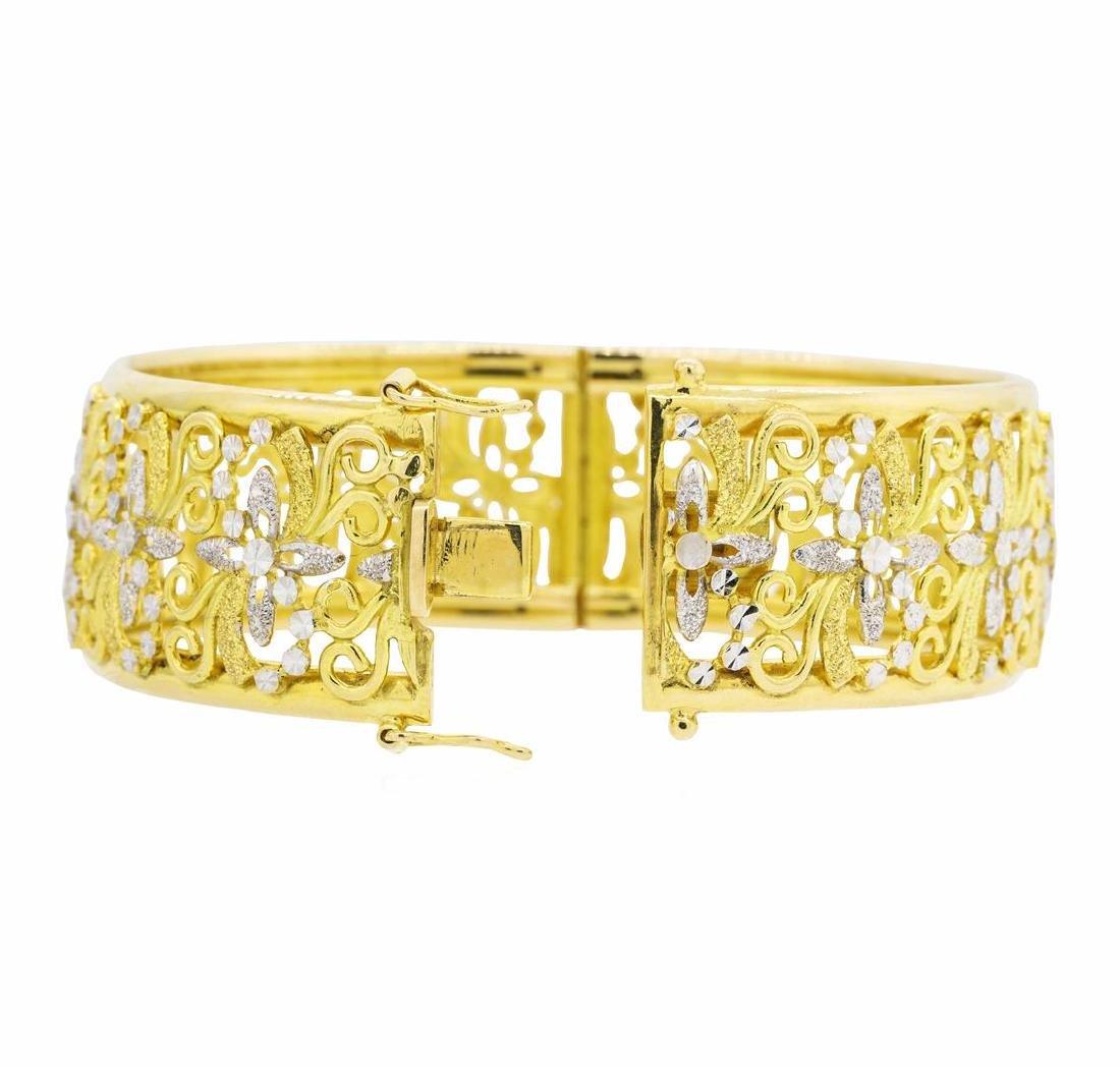 18KT Yellow Gold with Rhodium Plating Bangle Bracelet - 2