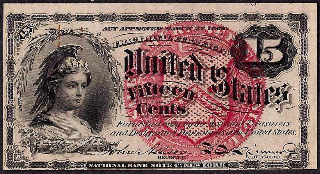 March 3, 1863 Fourth Issue Fifteen Five Cent Fractional